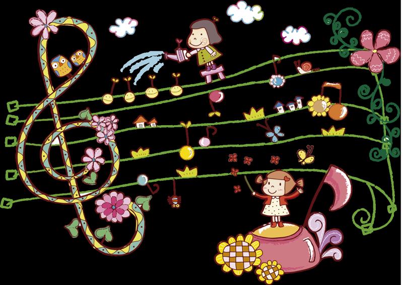 TenStickers. Sticker enfant ville musicale. Stickers enfant illustrant un univers féerique et musical pour la décoration de la chambre d'enfant