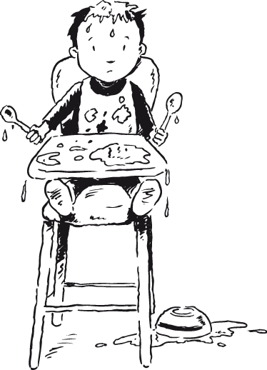 TenStickers. Kids Boy Highchair Wall Sticker. Kids Wall Stickers - Illustration of a little boy sitting in a high chair making a big mess. Ideal for decorating areas for children.