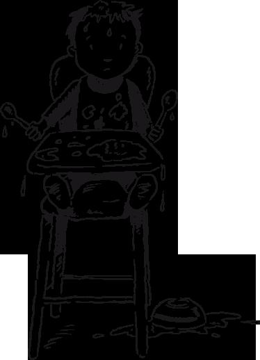 TENSTICKERS. キッズボーイハイチェアウォールステッカー. 子供の壁のステッカー-大きな混乱を作る高い椅子に座っている小さな男の子のイラスト。子供用のエリアを飾るのに最適です。