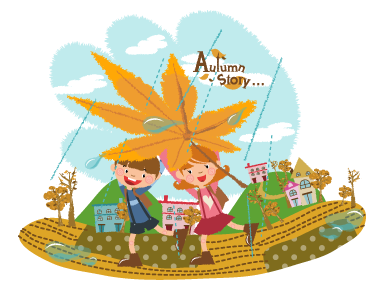 TenStickers. Autumn Story Scene Sticker. Sticker of two children playing in a field with a village in the background on a rainy Autumn day.