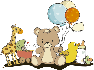 TenStickers. Teddy Bear & Animals Customisable Kids Decal. A lovely customisable nursery decal from our collection of teddy stickers illustrating a giraffe, a buggy, toys, a bottle, balloons and a teddy bear.