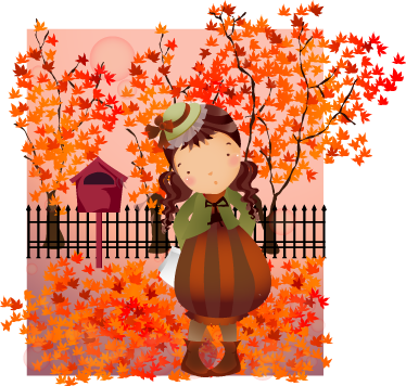 TenStickers. Kids Autumn Walk Wall Sticker. Kids Wall Stickers - Illustration of a girl walking through a park in autumn. Ideal for decorating areas for kids. Available in various sizes.