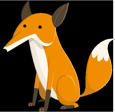 TenStickers. Adesivo bambini volpe seduta. Sticker decorativo che raffigura una volpe seduta a cuccia. Ideale per decorare la cameretta dei bambini.