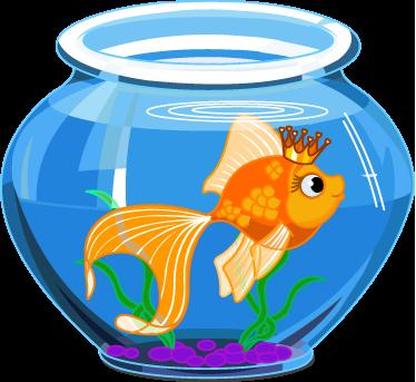 TenStickers. Adesivo bambini acquario. Sticker decorativo che raffigura una boccia d'acqua contenente un simpatico pesce arancione che indossa una corona.