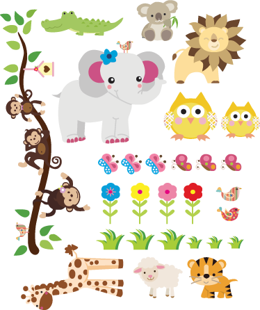 TenStickers. Sticker enfant animaux. Sticker mural animaux de la jungle. Le sticker contient : singes, éléphants, girafe, koala, hiboux, lion etc... Promo Exclusives par email.