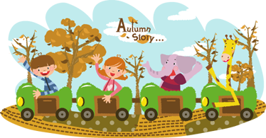 TenStickers. Kids Autumn Train Wall Mural. Kids Wall Stickers - Fun and playful illustration of a four carriage train with two children, an elephant and a giraffe.