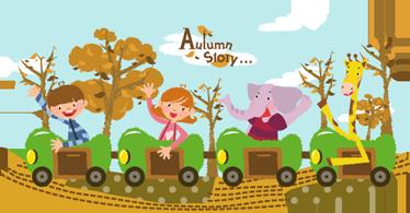 TenStickers. Pictură pentru copii toamnă tren. Autocolante de perete pentru copii - ilustrare distractivă și jucăușă a unui tren de patru trăsuri cu doi copii, un elefant și o girafă.