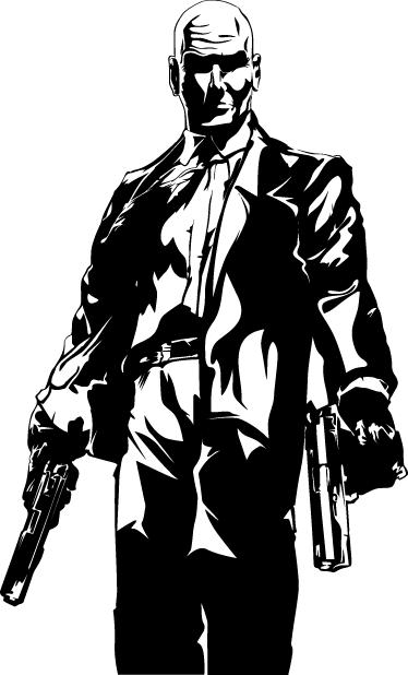 TenVinilo. Vinilo decorativo Hitman silueta. Adhesivo del personaje principal de este videojuego violento, armado con sendas pistolas automáticas.