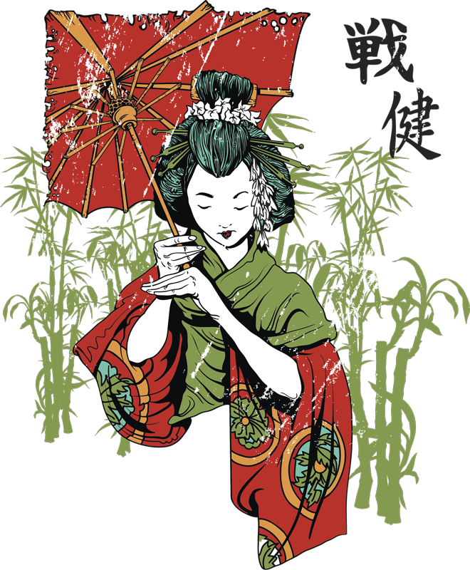 TenStickers. Bamboo Garden Geisha Wall Sticker. Wall Stickers - Illustration of a Japanese Geisha in a kimono holding an umbrella. Available in various sizes.