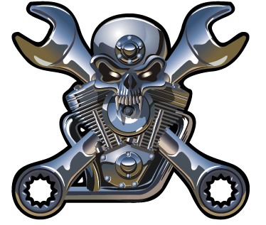 TenStickers. Skull Engine Wall Sticker. A spectacular skull wall sticker illustrating a metallic engine! Brilliant vinyl decal of a skull with crossed wrenches.
