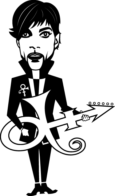 TenVinilo. Vinilo decorativo Prince dibujo. Adhesivo estilo cómic del excéntrico músico estadounidense.