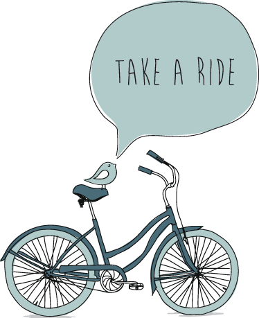 TenStickers. Take a Ride Bicycle Decal. A bike wall sticker illustrating a bicycle that is inviting you to take a ride! A simple yet eye-catching bike decal to decorate your home.