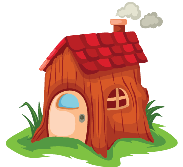 TenStickers. Enchanted Tree House Wall Sticker. Kids Wall Stickers - Illustration of a small house built from a tree trunk. Colourful design ideal for children. Avaialble in various sizes.