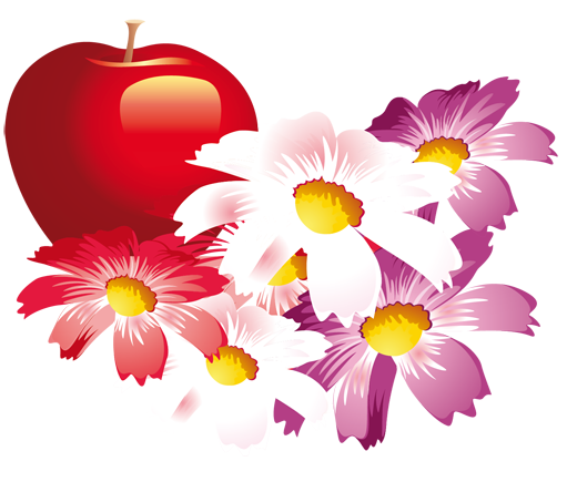 TenStickers. Red Apple & Flowers Fridge Sticker. Kitchen Stickers - Fruit and flower design ideal for personalising your fridge. Decals great for styling your home.