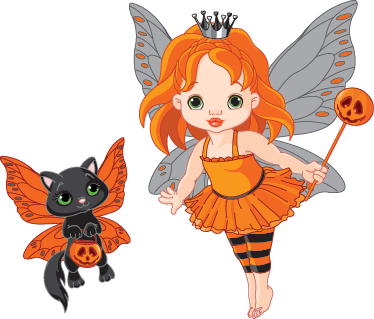 TenStickers. Halloween Fairy & Black Cat Kids Sticker. Kids Stickers - Illustration of a fairy and her cat dressed for the halloween.