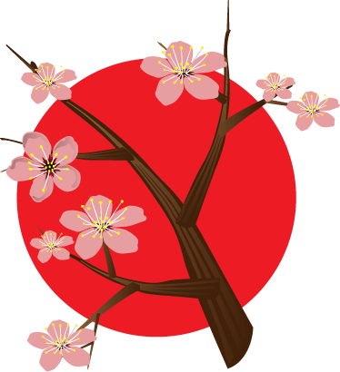 TenStickers. Japanese Cherry Branch Wall Sticker. A floral illustration of a cherry branch in front of the Japanese flag. Splendid decal from our collection of Japanese wall stickers.