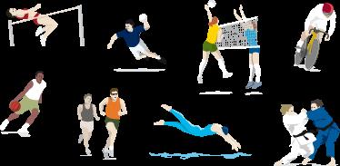 TenVinilo. Stickers olimpiadas. Colección de adhesivos de distintas disciplinas deportivas: natación, judo, ciclismo, voley...