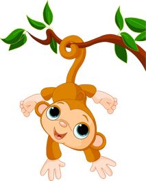 TenStickers. Baby Monkey Kids Sticker. Add some fun and amusement to your child's bedroom with this adorable sticker of a playful baby monkey hanging from the branch of a tree.