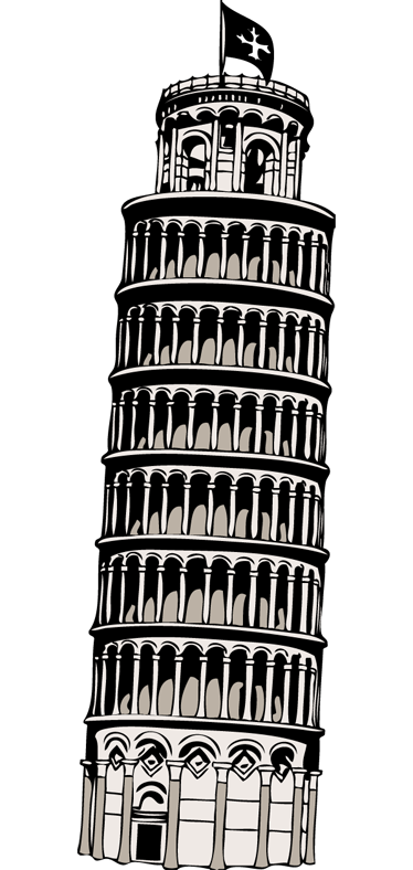 TenStickers. Pisa Tower Travel Sticker. This tower is known worldwide for its unintentional tilt. This tower is located in the Italian town of Pisa, which is why its called Pisa Tower.