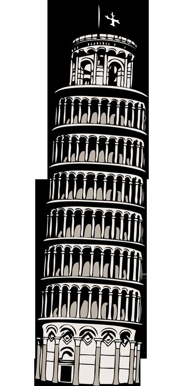 Ontwerper Toren Van Pisa.Sticker Toren Van Pisa Tenstickers