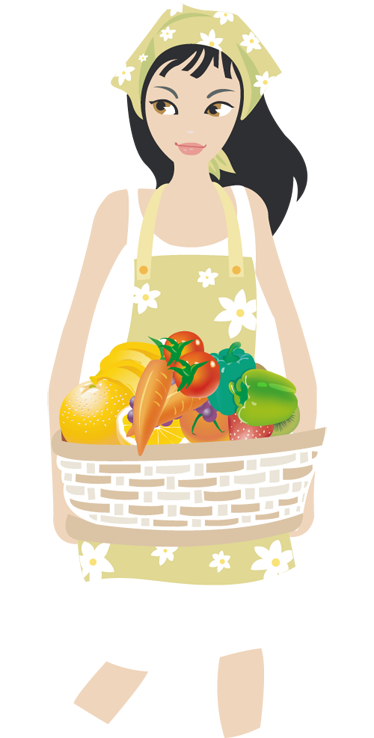 TenStickers. Vegetable Lady Wall Sticker. Wall Stickers - Illustration of a young female holding a basket of vibrant colourful vegetables.