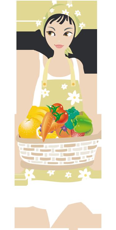 TenStickers. Sticker meisje met mand groenten. Muursticker van een jonge vrouw met een mand met groenten en fruit in haar handen. Een wandsticker voor de decoratie van uw keuken of winkel.