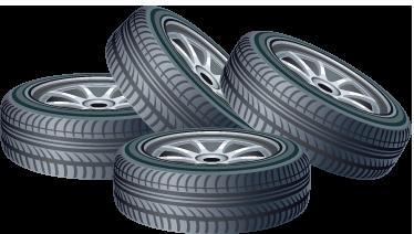 TENSTICKERS. 4つのタイヤの壁のステッカー. ウォールステッカー-4つのタイヤのイラスト。さまざまなサイズで利用できます。デカール。ホイールとリム。