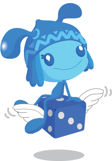 TenStickers. Blue Pixie with Dice Sticker. Kids sticker of a sweet blue pixie sitting on a flying dice. Perfect for children's playrooms.