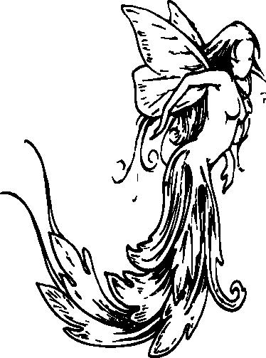 TenStickers. 클래식 요정 일러스트 스티커. 흐르는 드레스와 함께 아름답고 고전적인 스타일의 요정의 인상적인 그림이있는 스티커.
