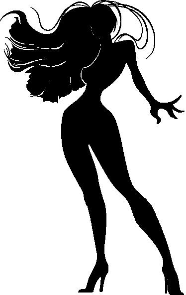 TenStickers. Sticker mural silhouette femme sexy. Stickers mural représentant une femme aux longs cheveux soufflé par le vent.