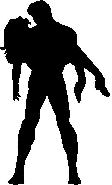 TENSTICKERS. キッズヒーローレスキュー壁デカール. 子供の壁のステッカー-遊び心のある印象的なコミックスタイルシルエットイラストの腕の中で女性を保持しているヒーロー。
