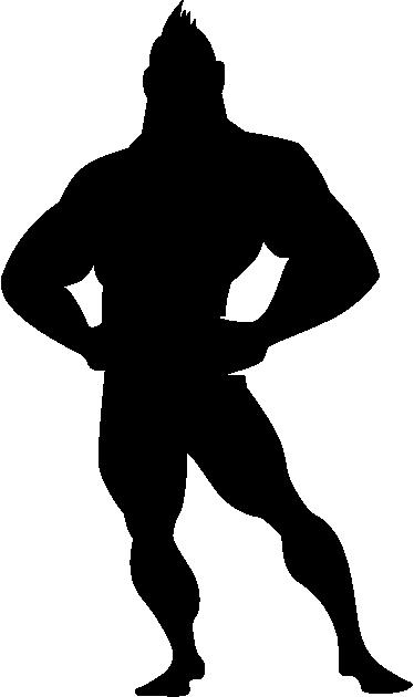 TENSTICKERS. 子供コミックストロングマン壁デカール. 子供の壁のステッカー-強い男性キャラクターのコミックスタイルシルエットイラスト。子供部屋や保育園を飾るのに最適です。