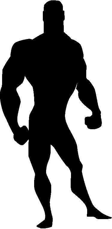 TenStickers. Otroci moški moški stripovski stenski nalepki. Otroška stenska nalepka - komična ilustracija silhuete močnega moškega značaja. Idealen za okrasitev površin za otroke.