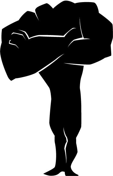 TenStickers. Kids Super Strong Hero Wall Sticker. Kids Wall Stickers - Comic style silhouette illustration of a strong male character with big muscles folding his arms. Ideal for decorating areas for children.