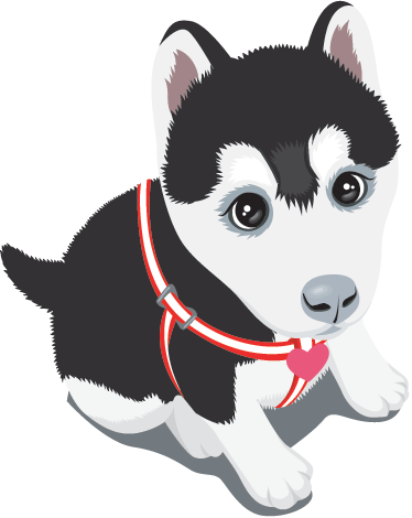 TenStickers. Husky Puppy Wall Sticker. Kids Wall Stickers - Playful and adorable husky puppy decal. A cute wall sticker that can be used as a nursery wall sticker or a kid´s bedroom sticker.