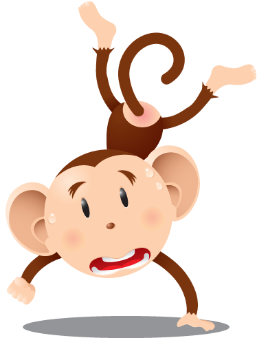 TenStickers. Kids Handstand Chimpanzee Wall Sticker. Kids Wall Stickers - Playful illustration of a monkey doing a handstand. Available in various sizes. Ideal for decorating areas for children.