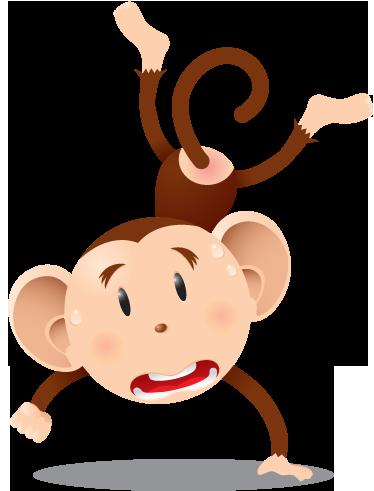 TenVinilo. Vinilo infantil chimpancé malabar. Divertida pegatina de un primate asustado haciendo saltos acrobáticos.