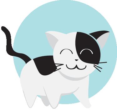 TenVinilo. Vinilo infantil gato círculo. Adhesivo de un lindo felino blanco y negro sobre un fondo redondo de color azul.