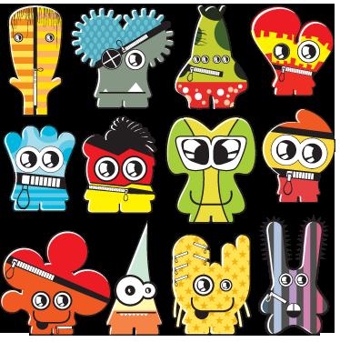 TenStickers. Wandtattoos Kinderzimmer kleine Monster. Dieses Wandtattoo zeigt eine Vielzahl von kleinen Monstern. Viel zu entdecken und bunt genug, um Kinder zu begeistern