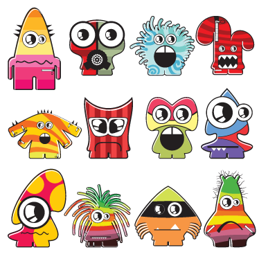 TenVinilo. Sticker infantil set doce monstruos. Recopilación de una serie de adhesivos con monstruitos de diferente tipo.