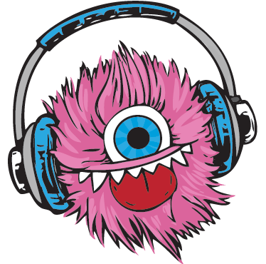 TenStickers. Pink Fluffy Ball Sticker. A creative monster wall sticker of a pink fluffy one-eyed monster listening to music!  All of our our teens bedroom stickers are easy to apply.