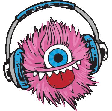 TENSTICKERS. ピンクのふわふわのボールのステッカー. 音楽を聴くピンクのふわふわした片目のモンスターのクリエイティブなモンスター壁ステッカー!私たちの10代の寝室のステッカーはすべて簡単に適用できます。