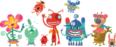 TenStickers. Sticker Set Kinderzimmer Monster. Personalisieren Sie das Kinderzimmer mit diesem lustigen Monster Sticker Set.