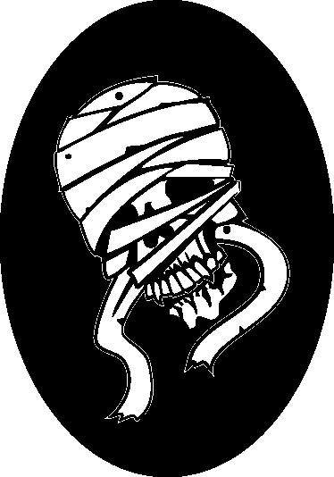 TENSTICKERS. ミイラ化した頭蓋骨のステッカー. 単色の楕円形の内側にミイラの頭蓋骨が描かれたステッカー。