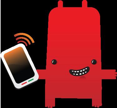 TenVinilo. Vinilo infantil monstruo con móvil. Hasta el coco del armario de tus hijos usa un smartphone hoy en día. Divertido adhesivo.