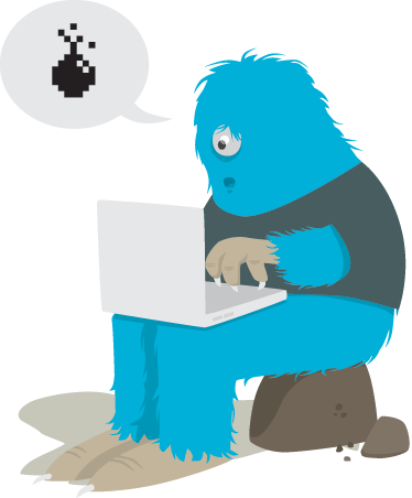 Tenstickers. Lasten hirviö tietokoneen seinä tarra. Hauska ja leikkisä esimerkki yksisilmäisestä sinisestä hirviöstä, joka pelaa pelejä laptopillaan. Mallisto hauskasti seinätarroista.