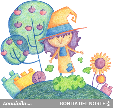 TenStickers. Little Witch Kids Sticker. Sticker with a colouring pencil effect illustrating a little friendly witch in her own magic world.
