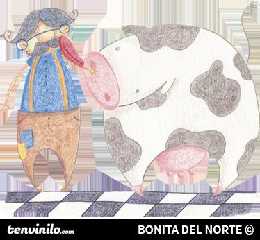 TenStickers. детский фермер и счастливая корова стикер. наклейки на детские стены - оригинальный рисунок карандашом от Ракель Блэкез, когда фермер облизал свою корову. идеально подходит для украшения детской