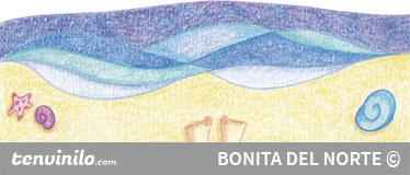 TenStickers. Walk On The Beach Decal. Spectacular sticker designed by illustrator Raquel Blázquez with a drawing of a sandy beach and flowing waves.