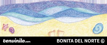 TenVinilo. Vinilo infantil paseo por la playa. Espectacular dibujo adhesivo de Raquel Blázquez de una niña sentada en la arena viendo el oleaje.